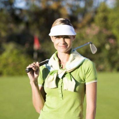 Women's white golf visor